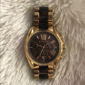 MK GOLD AND TORTOISE WATCH